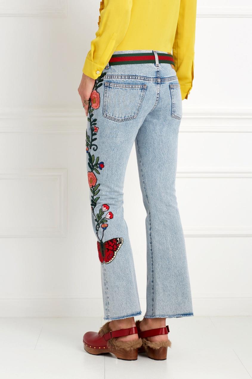 Гуччи джинсы с вышивкой 18