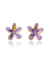 AZ Collection | Garden Line - Фиолетовые Серьги-Цветы из Эмали | Clouty