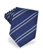 Forzieri Exclusives | Синий Галстук из Текстурного Шелка с Белыми Диагональными Полосками | Clouty