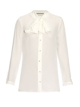 GUCCI | High-neck ruffled silk-crepe blouse | Clouty