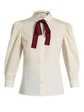 GUCCI | Tie-neck cotton-poplin blouse | Clouty