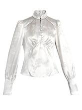 Marc Jacobs | Mandarin-collar floral-jacquard satin blouse | Clouty