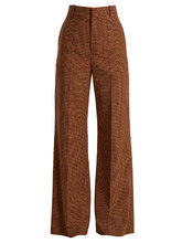 Chloé | Checked wide-leg twill trousers | Clouty