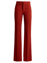 Chloé   Mid-rise flared crepe trousers   Clouty