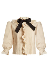 GUCCI | Ruffle-trimmed bow-neck stretch-cotton blouse | Clouty