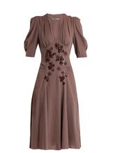 Bottega Veneta | Embellished V-neck silk-georgette dress | Clouty