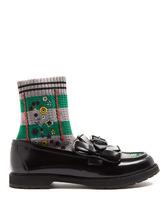 FENDI   Rockoko sock-lined leather loafers   Clouty