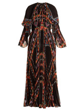 Etro | Makalu geometric-print pleated chiffon gown | Clouty