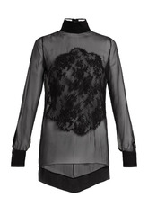 GIVENCHY | Lace-applique high-neck sheer silk blouse | Clouty