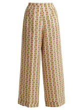 Etro | Wide-leg crescent-print silk trousers | Clouty