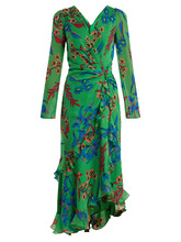 Etro | Floral-print V-neck silk dress | Clouty