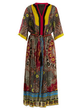 Etro | Jungle-print fringe-trimmed silk dress | Clouty