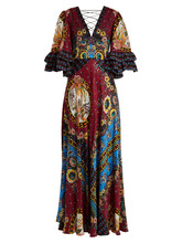 Etro | Jungle-print V-neck silk-satin gown | Clouty