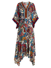 Etro | Graphic paisley-print embroidered silk dress | Clouty
