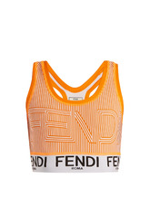 FENDI | Striped logo-print performance bra | Clouty