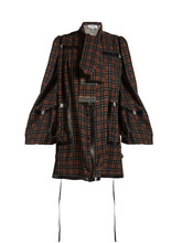 Loewe   Leather-trimmed checked-wool mini dress   Clouty