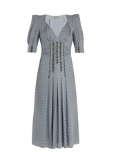 Bottega Veneta | Graphic-print stud-embellished silk-blend dress | Clouty