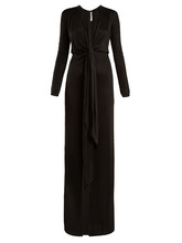 GIVENCHY | Tie-front deep V-neck jersey gown | Clouty