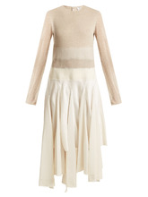 Loewe   Contrast-panel linen and satin dress   Clouty
