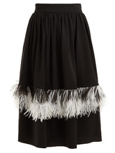 CHRISTOPHER KANE | Feather-embellished wool-blend midi skirt | Clouty