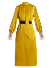 FENDI   Abito high-neck satin-cady midi dress   Clouty