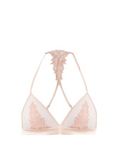 Fleur Of England   Sheer and lace satin soft-cup triangle bra   Clouty