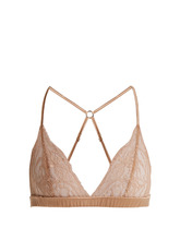 Fleur Of England   Caramel Boudoir sheer-lace and satin triangle bra   Clouty