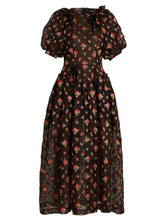 SIMONE ROCHA | Puff-sleeve floral-embroidered crepe dress | Clouty