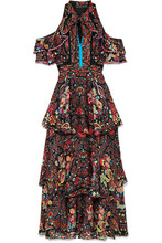 Etro | Etro - Cold-shoulder Printed Silk-georgette Maxi Dress - Black | Clouty