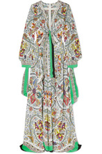 Etro | Etro - Corded Lace-trimmed Printed Silk Maxi Dress - White | Clouty