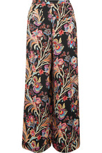 Etro | Etro - Floral-print Satin Wide-leg Pants - Black | Clouty
