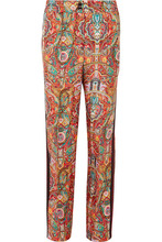 Etro | Etro - Satin-trimmed Printed Silk-twill Wide-leg Pants - Red | Clouty