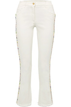 Etro | Etro - Embroidered High-rise Flared Jeans - White | Clouty