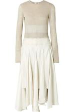 Loewe   Loewe - Striped Linen-jersey, Wool-felt And Satin Midi Dress - Beige   Clouty