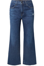 J Brand | J Brand - Joan Cropped Distressed High-rise Flared Jeans - Mid denim | Clouty