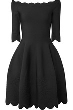 Alexander McQueen | Alexander McQueen - Off-the-shoulder Scalloped Stretch-jacquard Dress - Black | Clouty