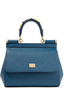 Dolce & Gabbana | Dolce & Gabbana - Sicily Small Embellished Textured-leather Tote - Storm blue | Clouty