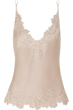 Carine Gilson | Carine Gilson - Chantilly Lace-trimmed Silk-satin Camisole - Taupe | Clouty