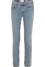 Re/Done | RE/DONE - + Cindy Crawford The Crawford High-rise Straight-leg Jeans - Light denim | Clouty
