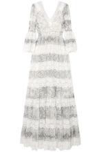 Etro | Etro - Lace-trimmed Printed Cotton And Silk-blend Gown - Ivory | Clouty