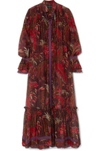 Etro | Etro - Lace-trimmed Printed Cotton And Silk-blend Maxi Dress - Burgundy | Clouty