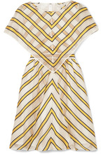 FENDI   Fendi - Cape-effect Cutout Striped Silk-blend Organza Mini Dress - Yellow   Clouty