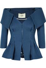 FENDI   Fendi - Pinstriped Off-the-shoulder Cotton-blend Twill Blazer - Navy   Clouty