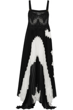 GIVENCHY | Givenchy - Lace And Pleated Silk-blend Georgette Gown - Black | Clouty
