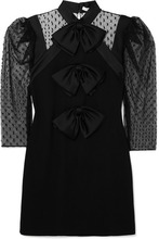 GIVENCHY | Givenchy - Bow-embellished Swiss-dot Tulle And Wool-crepe Mini Dress - Black | Clouty