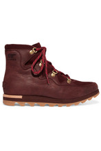 Sorel | Sorel - Sneakchic Alpine Suede And Leather Ankle Boots - Burgundy | Clouty