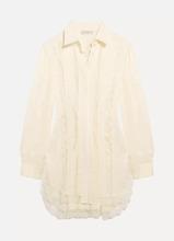 Etro   Etro - Lace-paneled Silk-jacquard Shirt - White   Clouty