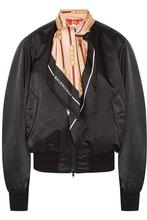 Balenciaga | Balenciaga - Silk Twill-trimmed Shell Bomber Jacket - Black | Clouty