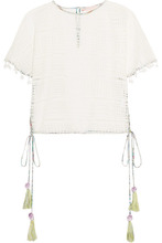 Matthew Williamson | Matthew Williamson - Pompom-embellished Lace Top - White | Clouty