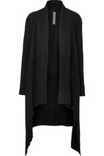 RICK OWENS | Rick Owens - Asymmetric Ribbed Cotton Cardigan - Black | Clouty